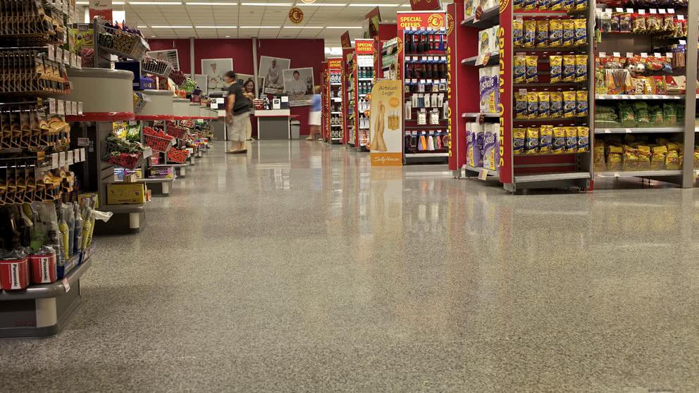 Hygienic supermarket floor